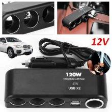 12v4 Way Car Cigarette Lighter Power Socket Charger Adapter USB Port