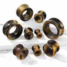"Tiger Eye, 9/16"" (14mm) Semi Precious Stone Hollow Double Flared Flesh Tunnel Saddle Plug Ear Gauge Earring"