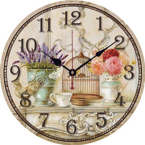 Peony Birdcage Type Wooden Wall Clock 30cm Vase Series