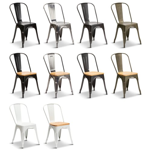 2 Tolix Style Industrial Metal Stacking Dining Chairs Cafe Bistro