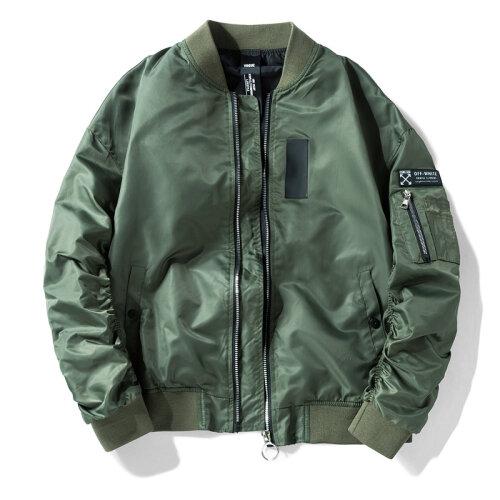 (Army Green, M) Men Flying Bomber Jacket Military Uniform Baseball Uniform