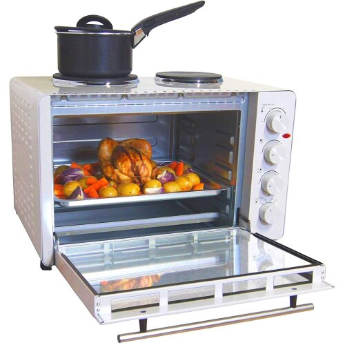 Igenix IG7145 Mini Oven with Electric Double Hotplate Hob, Ideal for Roasting, 45 Litre, White