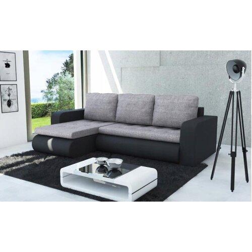 Universal Corner Sofa Bed BROOKLYN with Storage in Grey & Black
