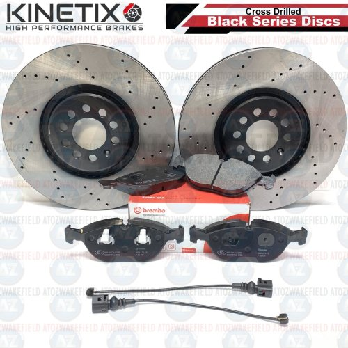 FOR AUDI TT VW GOLF MK4 R32 FRONT DRILLED BRAKE DISCS BREMBO PADS WIRES 334mm