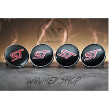 Set of 4 Red ST Ford alloy wheel caps 60mm