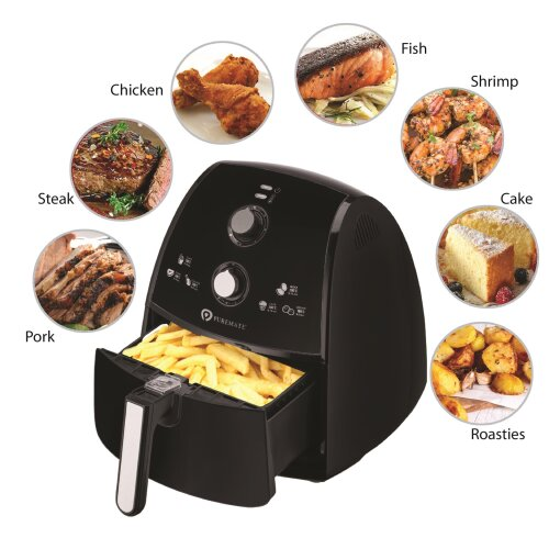 PureMate 4L Air Fryer Low Fat Oil Free Healthy Air Fryer 1500W Black