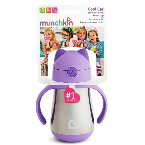 Munchkin® Cool Cat™ Stainless Steel Straw Cup Purple 237ml (8oz)