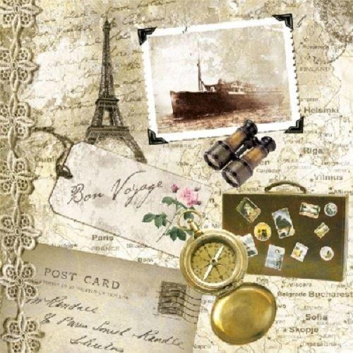4 x Paper Napkins - Bon Voyage - Ideal for Decoupage / Napkin Art