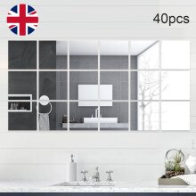 40Pcs Self Adhesive Square Glass Mirror Tiles Wall Sticker Home Décor