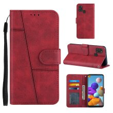 Samsung Galaxy A21s Case Cowhide Texture Leather Case with Card Slots Red
