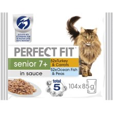 104 x 85g Perfect Fit Senior 7+ Wet Cat Food Pouches Mixed Selection in Sauce