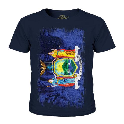 Candymix - New York State Grunge Flag - Unisex Kid's T-Shirt