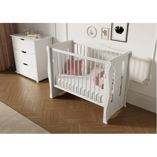 White Tia Baby Mini Space Saver Cot + Mattress 100 x 50 x 10cm