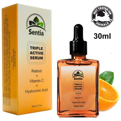 Sentia Triple Active Face Serum With Vitamin C, Retinol & Hyaluronic Acid - 30ml