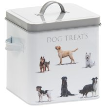 Dogs Feed Treats Metal Tin Box Food Storage Container with Lid and Handles New