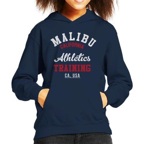 (Small (5-6 yrs), Navy Blue) Malibu Athletics Training Kid's Hooded Sweatshirt