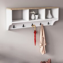 P&W Wooden wall mounted coat stands for hallway, coat rack with shelf