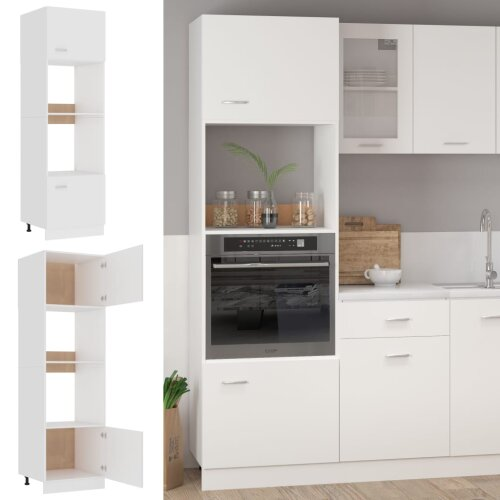 vidaXL Kitchen Cabinet White Chipboard Cupboard Sideboard Storage Side Cabinet