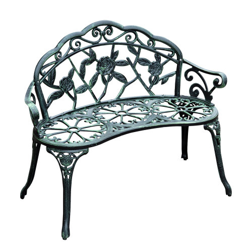 Outsunny Garden Bench Porch Park Chair Seater Antique Rose Style Cast Aluminium
