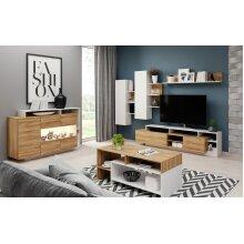Modern Living Room Furniture Set in Oak and White Colour / LED / ALVA
