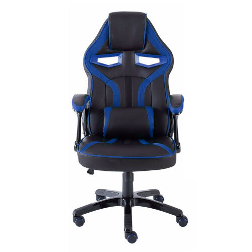 (Blue & Black) PU Leather Sport Racing Car Gaming Office Chair