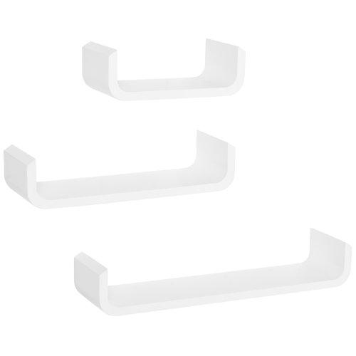 HOMCOM U Shaped Shelf Set Floating Wall Mounted White Hanging 3pc Display