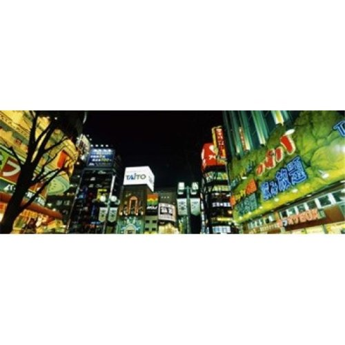 Low angle view of buildings lit up at night  Shinjuku Ward  Tokyo Prefecture  Kanto Region  Japan Poster Print by  - 36 x 12