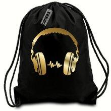 Black & Gold D J Headphones drawstring bag, Swimming bag