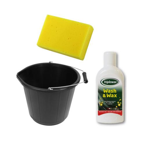 1L Triplewax Car Wash & Wax Shampoo Set Including 15L Bucket & Cleaning Sponge