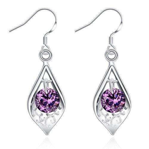 Silver Plated Purple Crystal Filigree Tear Drop Hook Drop Dangle Earrings