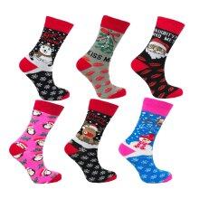 Ladies 6 Pack Novelty Christmas Socks