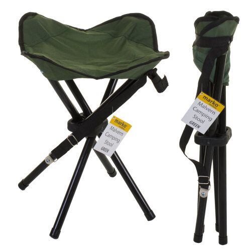 (Malvern Camping Stool - Green) Camping Chairs Folding Moon Camping Director Luxury Elite Padded Fishing Outdoor