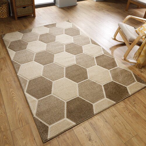 Modern Visiona Hive Rugs in Natural Textured 3D Effect Geometric Design Carpets