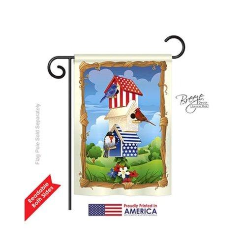 Breeze Decor 61058 Patriotic Star Spangled Birdhouse 2-Sided Impression Garden Flag - 13 x 18.5 in.