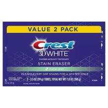 Crest 3D White Stain Eraser Fresh Mint Toothpaste, 2-99 g Tubes