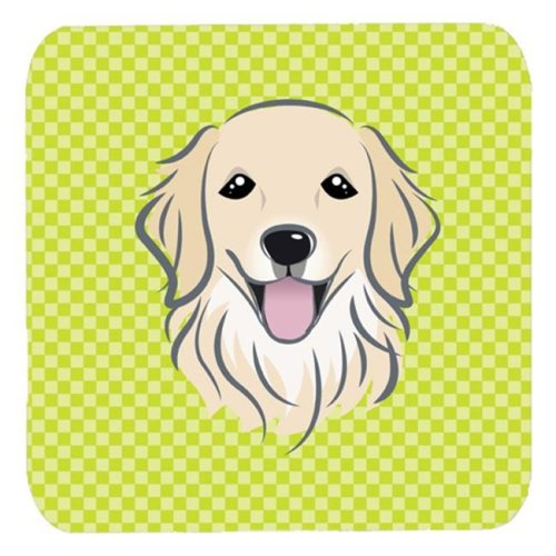 3.5 x 3.5 In. Checkerboard Lime Green Golden Retriever Foam Coasters, Set Of 4