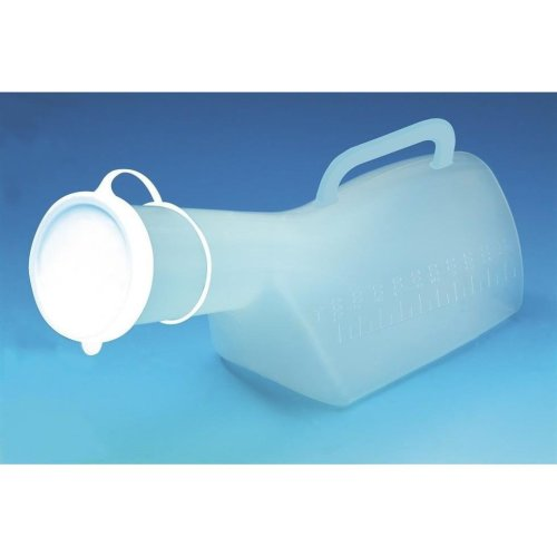 Male Urinal - Urine bottle with long neck, lid and handle - 1 litre capacity