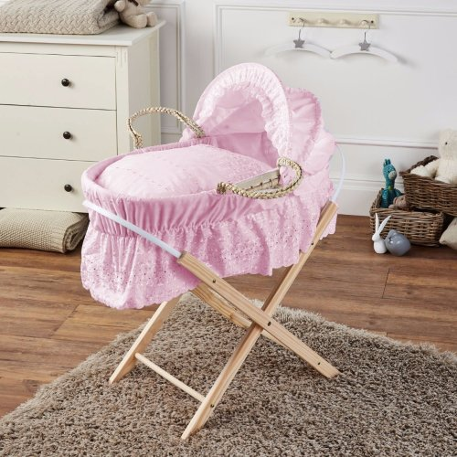 Broderie Anglaise Moses Basket With Mattress Covers & Folding Stand Pink