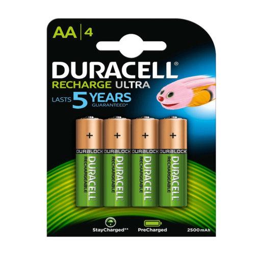 Duracell Rechargeable Ultra AA Batteries NiMH 2500mAh HR6 Duralock 4 Pack