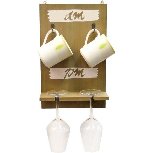 Wall Mounted Hanging Tea Coffee Mug & Wine Glass Holder