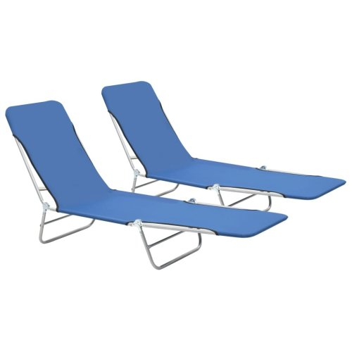 vidaXL 2x Foldable Sunloungers Blue Outdoor Garden Camping Recliner Daybed