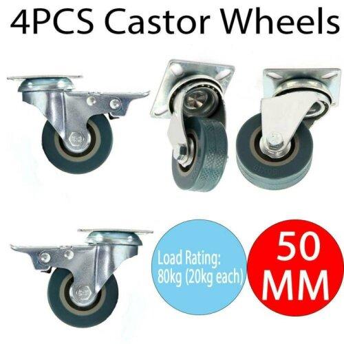 4 x 50mm Heavy Duty  Rubber Swivel Castor Wheels Trolley Furniture Ca