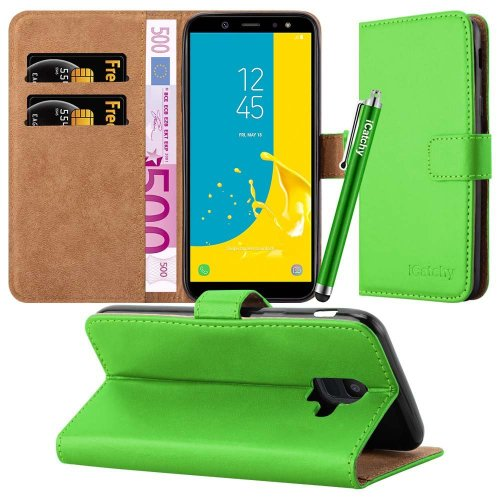 (Lime) For Samsung Galaxy J6 2018 Wallet Case with Stylus