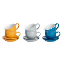 12pc Coloured Cappuccino Cup Saucer Set Porcelain Tea Coffee Cups 250ml[Blue Grey Yellow]