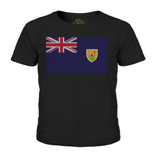 Candymix - Turks And Caicos Islands Scribble Flag - Unisex Kid's T-Shirt