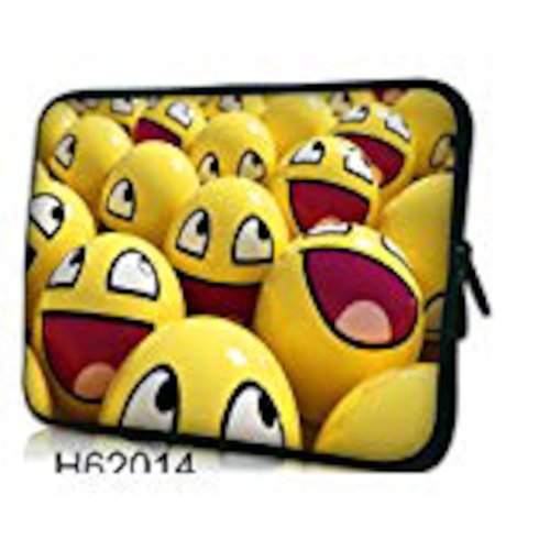 "10"" laptop case/bag neoprene/zipped ***Smiley Faces***"