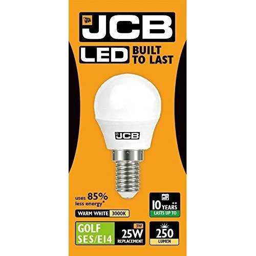 1 X JCB LED 3w = 25w SES/E14 Golf Ball Bulbs Screw Cap 250lm Warm White 3000k Non Dimmable [Energy Class A+]
