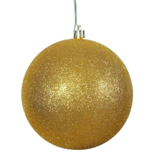Antique Gold Glitter Drilled Cap Ball Ornament, 10 in.