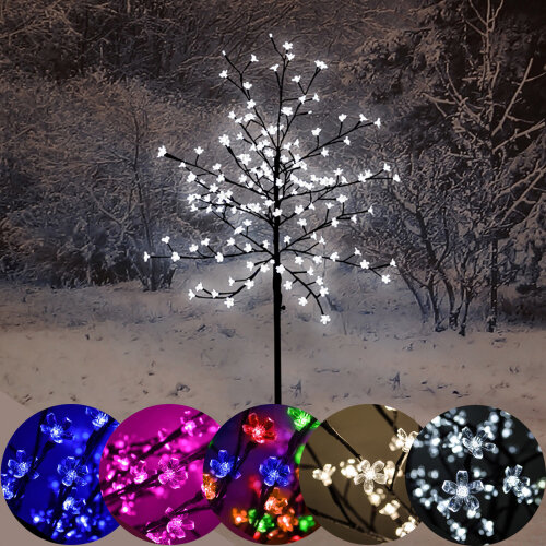 (Warm White) LED Cherry Blossom Tree With 150 Christmas Lights - 5ft