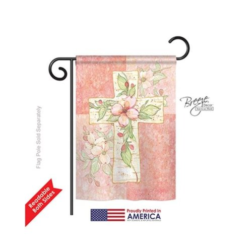 Breeze Decor 53044 Pink Flower Cross 2-Sided Impression Garden Flag - 13 x 18.5 in.